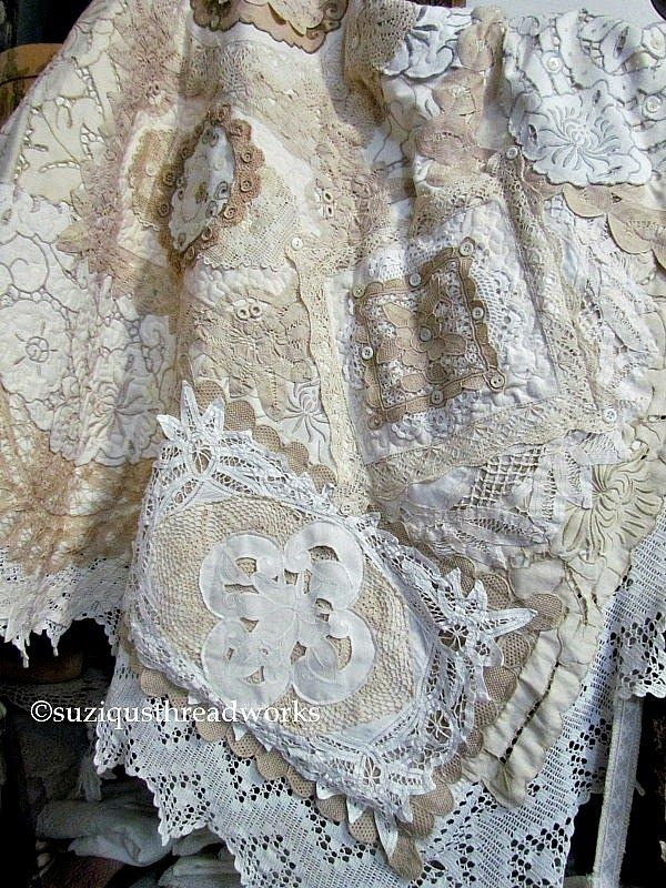 Suziqu S Threadworks Layers And Layers Of Collaged Lace And Doilies Needlework