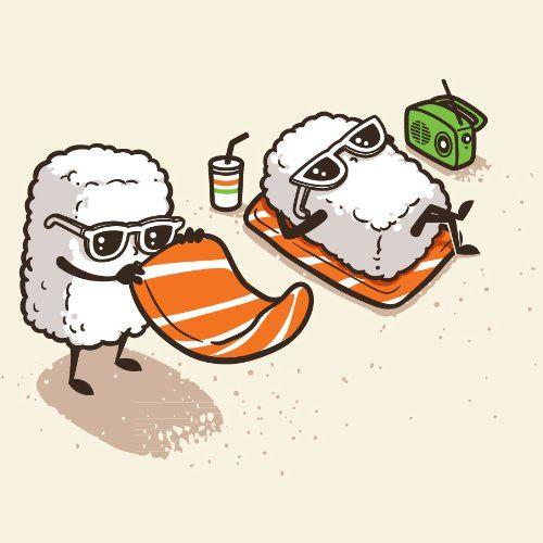 'Summer Sushi' Funny Cartoon Sushi Sunbathing on Beach - Vinyl Sticker