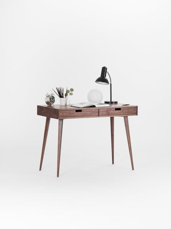 Walnut Dressing Table Small Desk Mid Century Modern Mid
