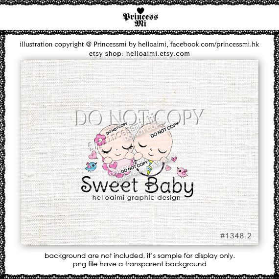 Custom Premade Logo Design  sweet two babies new born by helloaimi, $30.00