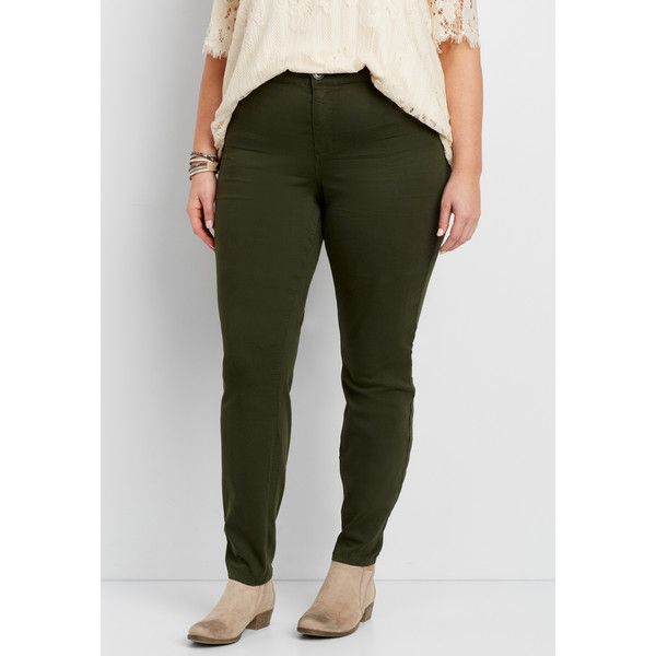 maurices Plus Size - Denimflex™ Jegging In Midnight Green, Women's, (€34) ❤ liked on Polyvore featuring pants, leggings, plus size, green leggings, jean leggings, womens plus size leggings, plus size denim leggings and plus size pants