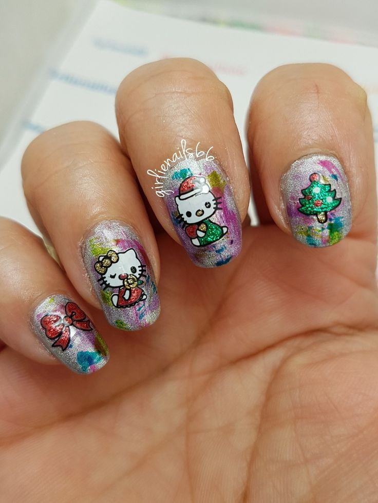 Hello Kitty Christmas nails  On OPI color paints dry brush nails