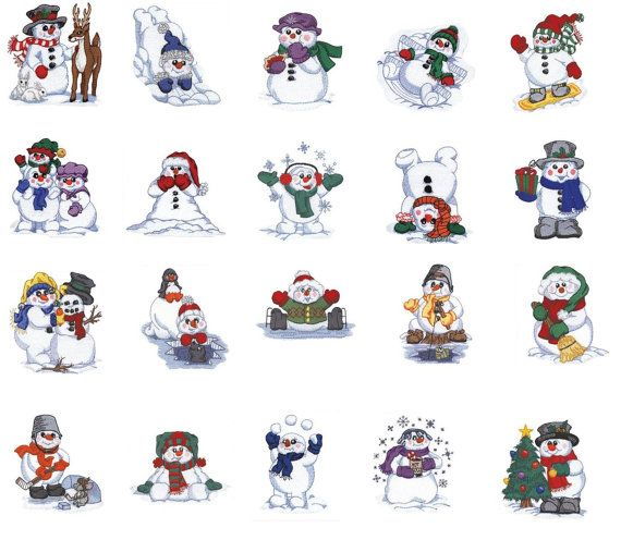 Playful Snowmen Embroidery Designs Pes / Hus / by BestDesigns13