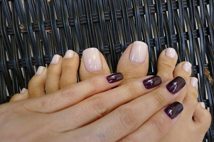 Pedicure CND Vinylux nail polish in LAVISHLY LOVED. Shellac gel polish in LAVA FLOW.