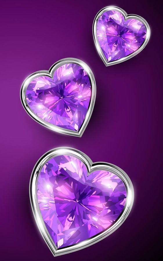 Blingee Cute Wallpaper February Birth Stone Hearts Bling Bling Purple Colour