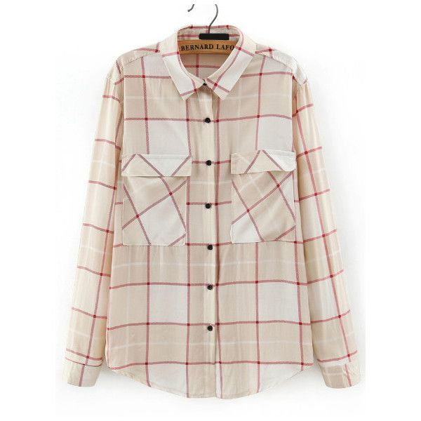 SheIn(sheinside) Apricot Lapel Long Sleeve Plaid Blouse (5.285 HUF) ❤ liked on Polyvore featuring tops, blouses, slimming tops, embellished tops, embellished long sleeve tops, tartan blouse and embellished blouses