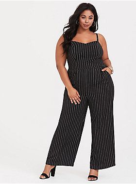 6bfd3bcb6c74 Black and White Stripe Wide Leg Challis Jumpsuit