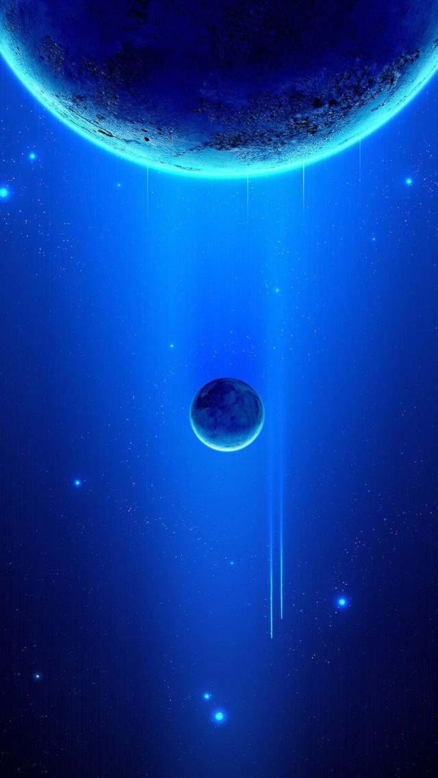 Space scene blue planets iPhone 5 Wallpaper