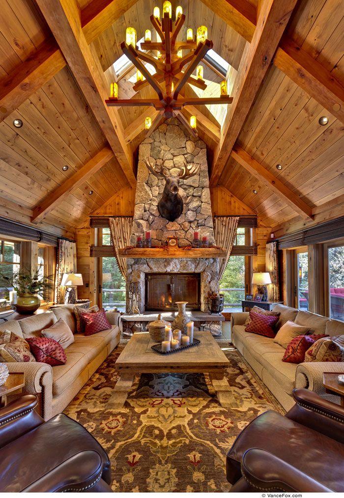 814 best Modern Log Cabins \ Decor images on Pinterest Log - log cabin living rooms