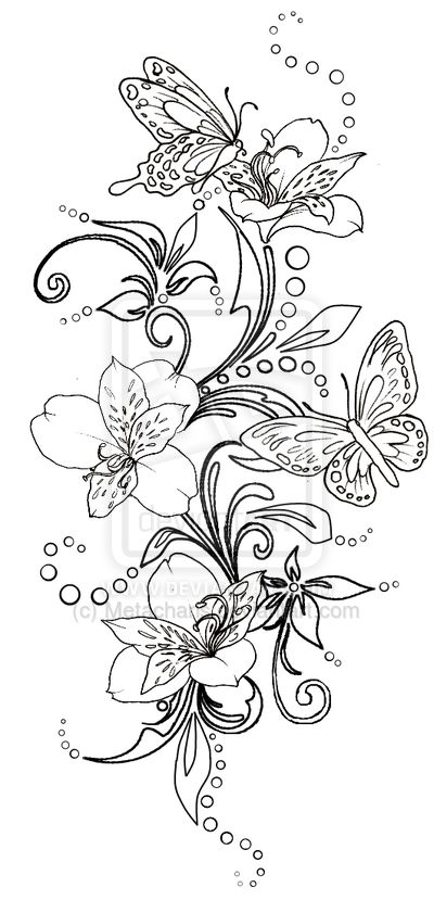 Butterflies and Flowers with Swirls Tattoo by Metacharis.deviantart.com on @deviantART
