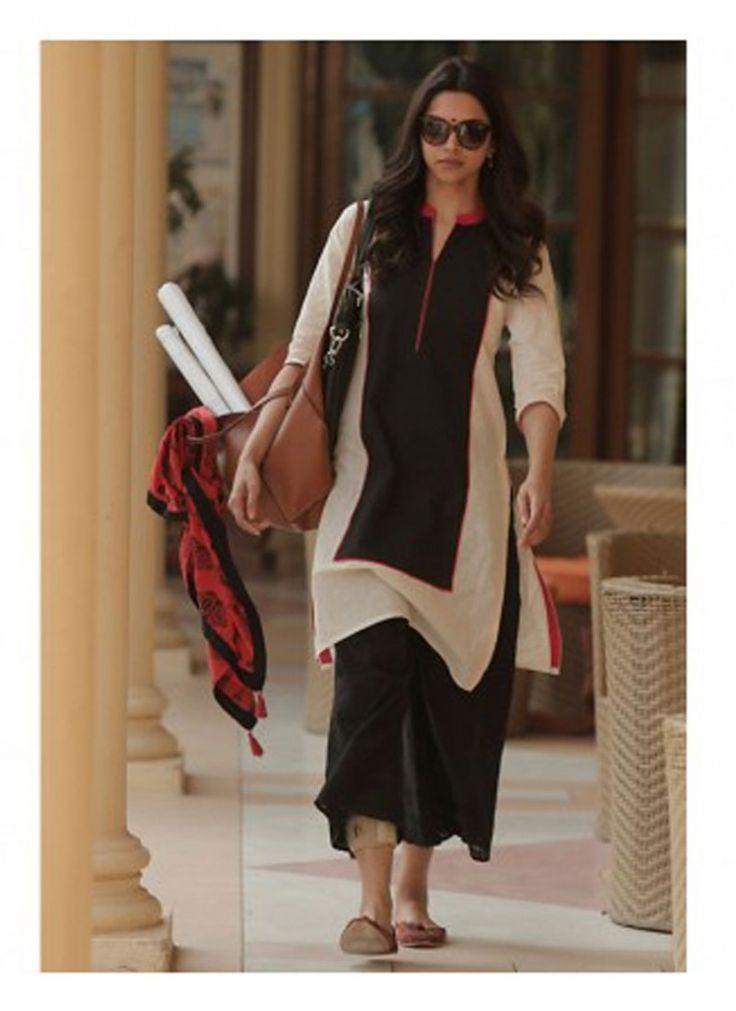 Deepika Padukone Black and Off White Palazzo Salwar Kameez