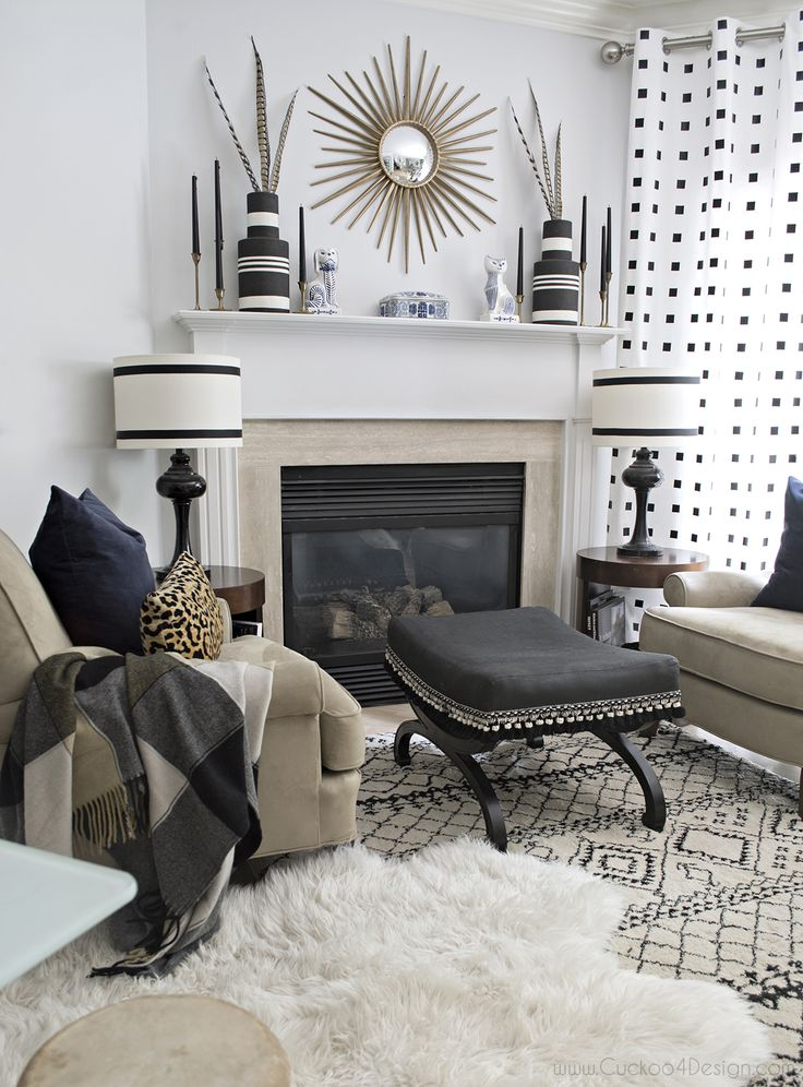 Neutral Eclectic Fall Tour | Black, white living room ...