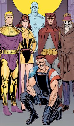 The six main characters of the 1986 comic book limited series Watchmen (from left to right): Ozymandias, the second Silk Spectre, Doctor Manhattan, the Comedian (kneeling), the second Nite Owl and Rorschach.