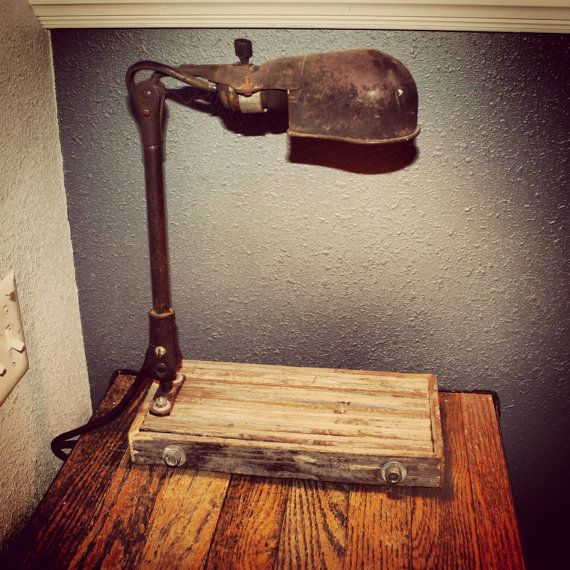 Vintage And Industrial Lighting From Etsy: Industrial Lamp Made From Reclaimed Wood Base And Vintage
