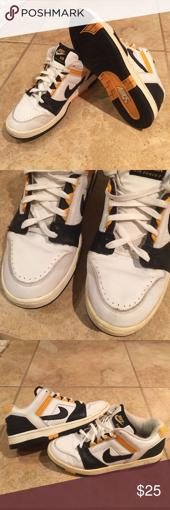 Nike Air Force 2 Lows [2003] (warn) Selling my holy grails, they've been with me for a while. Made in 2003, with natural yellowing on the midsole (all needs is some paint) and major creasing on the toe box. I cleaned these shoes thoroughly, all it needs is a little bit of loving and touch up lol                                            ** Does not have Original Box ** Nike Shoes Sneakers
