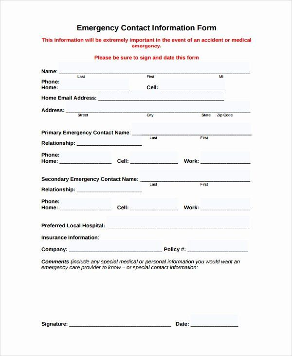 Emergency Contact Form Template Word Beautiful Personal Contact Information Form Employee Emergency Emergency Contact Form Emergency Contact Contact Form
