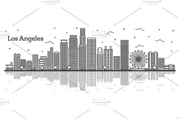 Outline Los Angeles California City California City Los Angeles Skyline Los Angeles Cityscape
