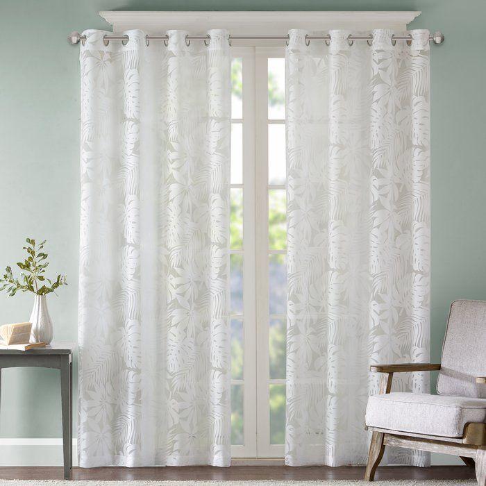 Griffey Floral Flower Sheer Grommet Single Curtains Sheer