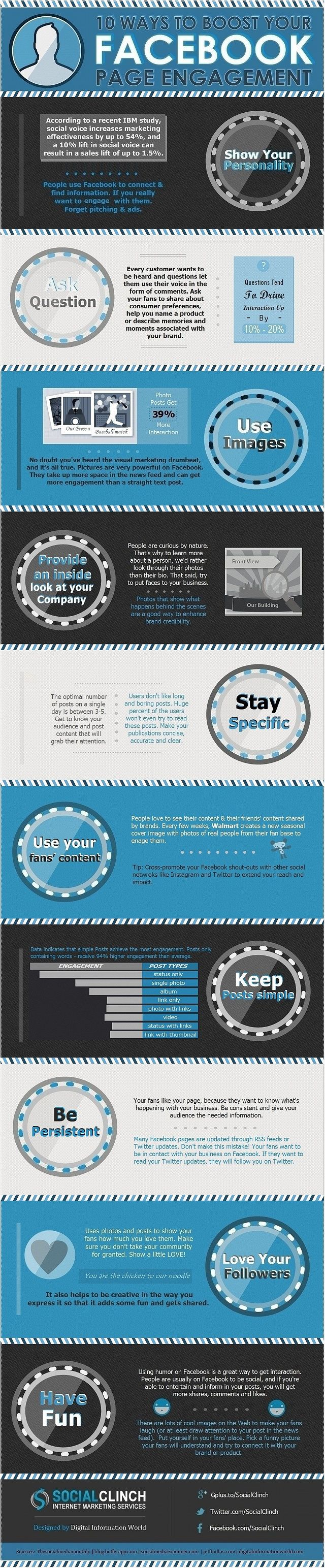 10-Ways-To-Boost-Your-Facebook-Page-Engagement-infographic-infographic -- Can always use this reminder!