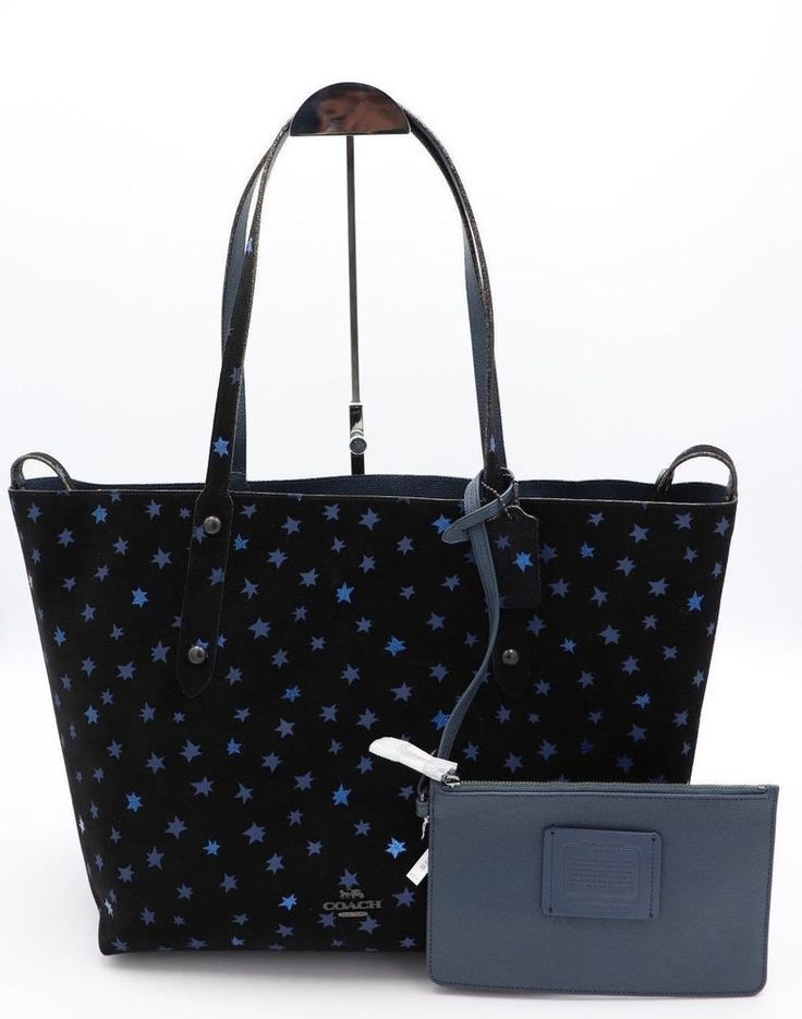 NWT Coach Star Glitter Print Blue Suede Leather Reversible Market Tote Bag  25748