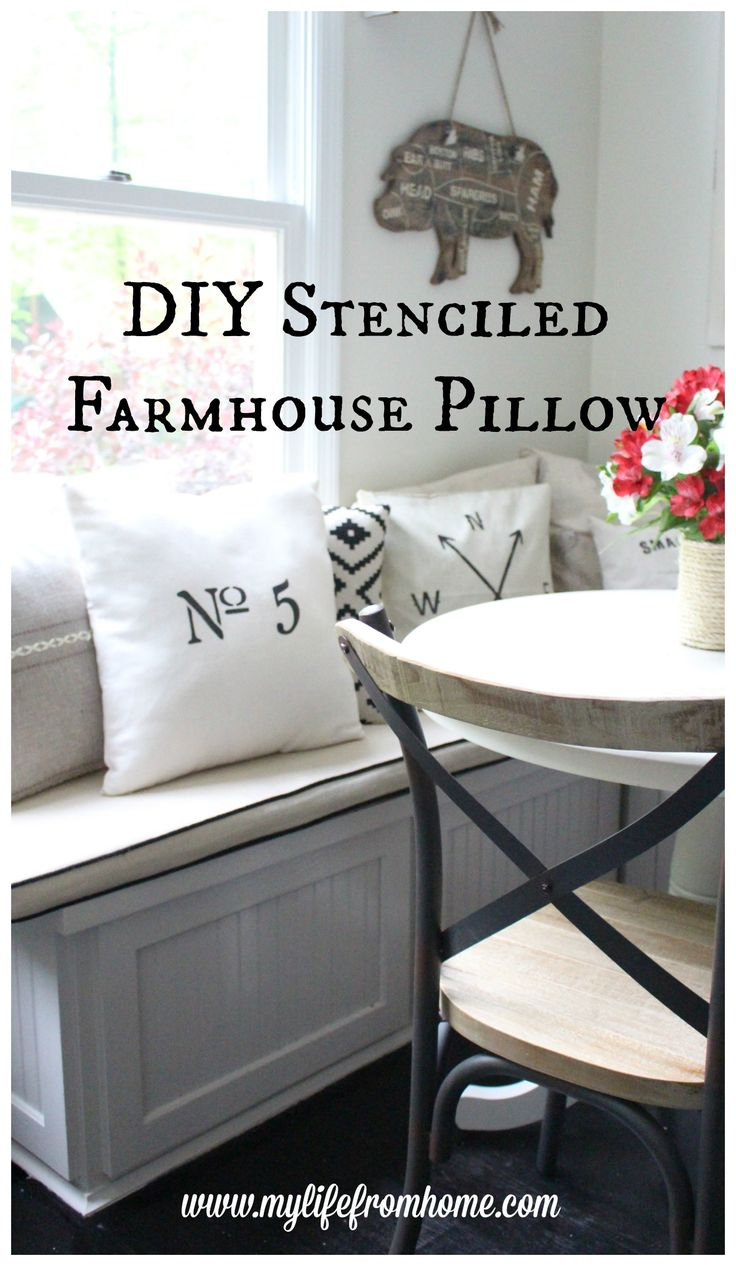How to Make a Simple Farmhouse Pillow Cover Using a Stencil, Fabric Paint, and a DIY Pillow Cover | My Life From Home | www.mylifefromhome.com