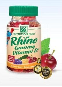 Nutrition Now Rhino Vitamin D Bears -- 60 Gummy Bears by Nutrition Now. $6.23. Rhino Gummy Vitamin D contains an excellent source of Vitamin D in each delicious gummy serving. Nutrition Now. Rhino Gummy Vitamin D contains an excellent source of Vitamin D in each delicious gummy serving. Made with natural colors and flavors, theyre the best-tasting Vitamin D.