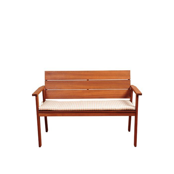 "$300. The Elsmere eucalyptus bench with striped beige and off-white cushion offers both contemporary design and durability. This eucalyptus patio bench is the perfect match for every patio and will give your backyard the class and elegance for outdoor seating. This collection combines luxury, beauty, comfort, and an affordable price. This bench seats 2 people. The set is made of solid ""Eucalyptus Grandis"" wood, grown in 100% well managed forests in Brazil and it is certified by the FSC (F..."