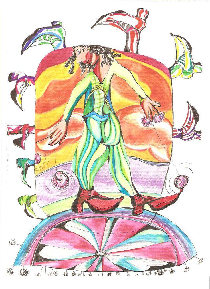 """""""En el circo"""" 2012, dibujo tinta y rotuladores."""