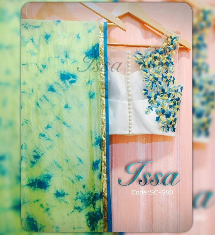 SC-S80: Powder yellow  turquoise blue tie dye saree with hand embroidered white blouse.   We can customize the colour   size as per your requirement.  To order please call/ WhatsApp on 9949944178 or mail us @issadesignerstudio@gmail.com