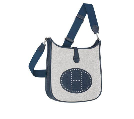 Evelyne III Hermes shoulder bag in ecru twill H canvas/Prussian ...