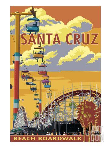 Santa Cruz, California - Beach Boardwalk Print by Lantern Press at Art.com
