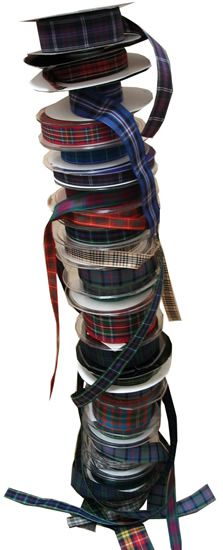 Ribbon available in some clan tartans. Can be used in wedding flowers and decorations.