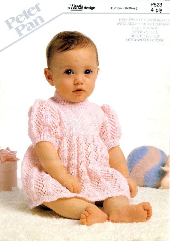 Peter Pan P523 PDF Knitting Pattern for Baby Girl's Dress, by PatternaliaVintage