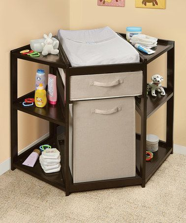 I like the idea of a corner table, seems like it would be a space saver.   This Espresso Diaper Corner Changing Table Set is perfect! #zulilyfinds