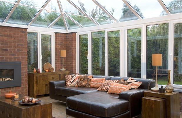Conservatory with brick pillars