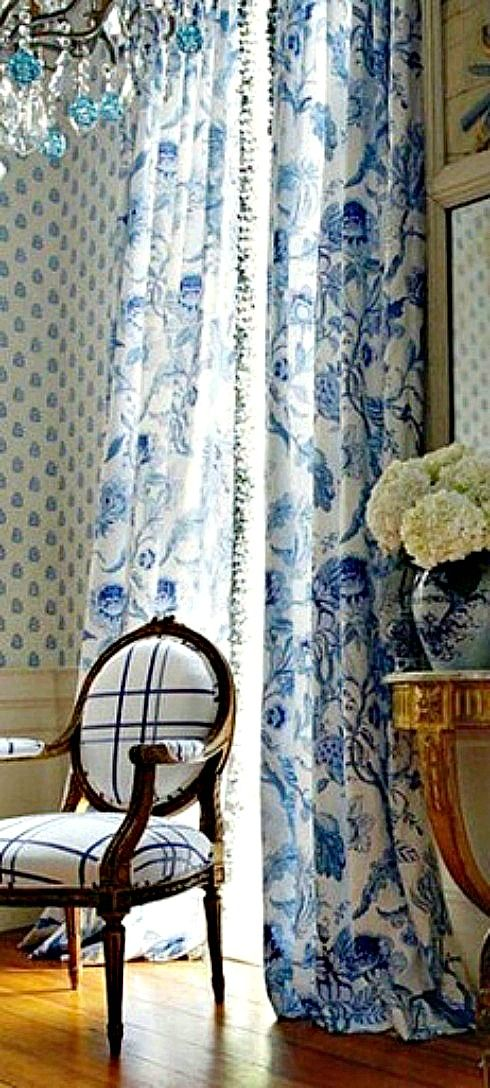 Styling home in white and blue - Beautiful curtains