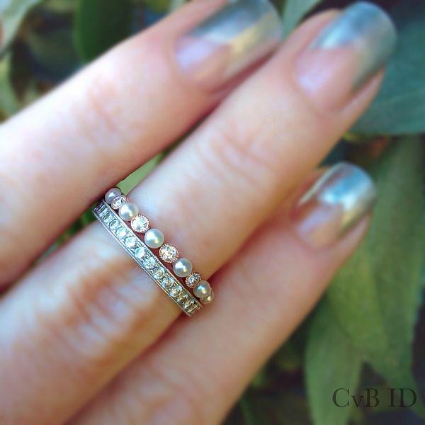 On Hold: OEC bezel diamond & seed pearl 3/4 eternity band in 18K RG | Loupe…