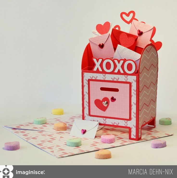 XOXO Mailbox Valentine Box Card - Imaginisce papers from the My Baby collection and using the Imaginisce I-Rock gem setting tool. Cut file Hearts Aflame by SVGcuts.