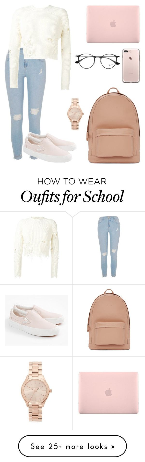 """""""Day at school """" by gabrielle-kamielle on Polyvore featuring River Island, adidas Originals, Vans, PB 0110, Incase, Ray-Ban and Michael Kors"""