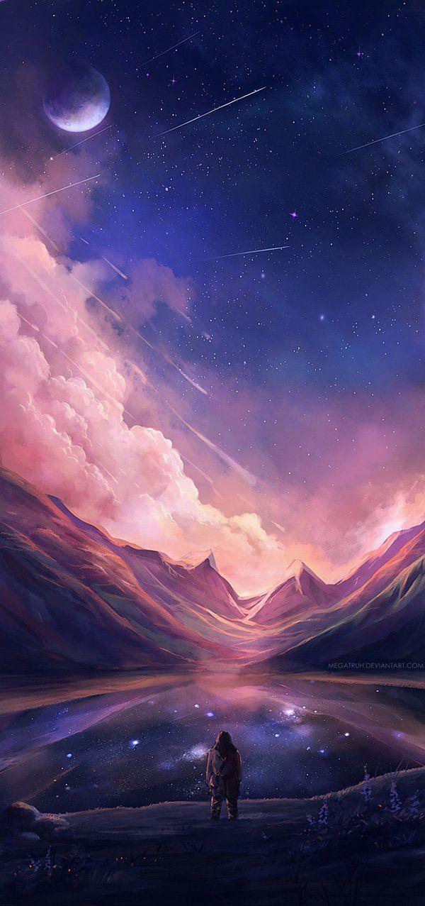 Cette peinture representé par un homme près d'un grand lac qui regarde les étoiles filantes dans le ciel bleus foncé et mauve.  Au bout du lac il y a de grandes montagnes illuminé par le ciel.  L'eau du lac est refletté par le ciel rempli d'étoiles.  Les couleurs utiliser dans cette oeuvre son majoritèrement froide.