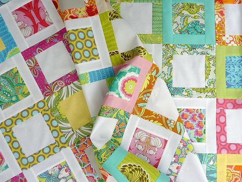 Great use of Amy Butler's Soul Blossoms line - look how the white makes her vibrant colors and prints POP!