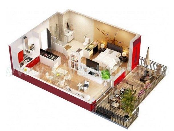 Gambar Denah Desain Apartemen Studio Minimalis 3D 3