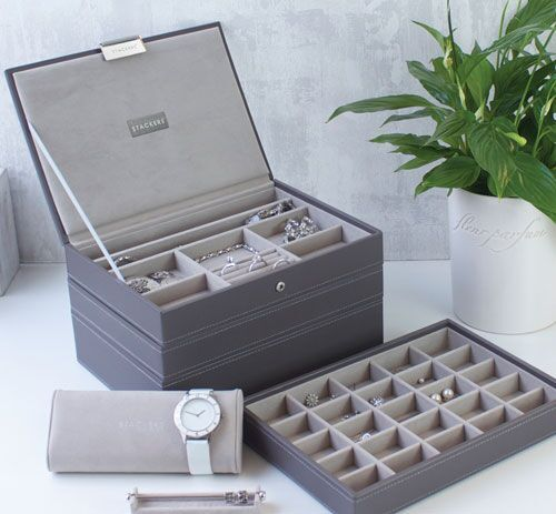Stackers Jewellery Box. Mink & grey velvet stackable storage for your home or as a gift. See more at www.Stackers.com