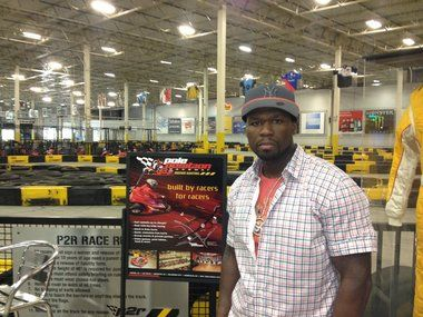 Rapper 50 Cent tries out kart at Pole Position Raceway in Jersey City after MTV interview