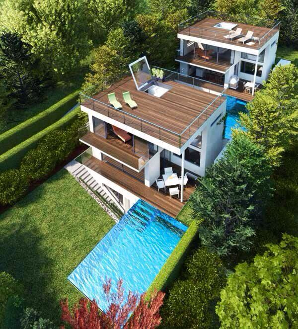 California Small Houses With Pools: Aerial View Of Modern House & Pool