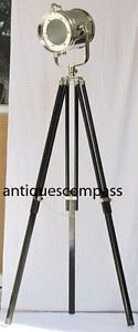 Have one to sell? Sell now Nautical Aluminium Spot Searchlight Photography Floor Lamp W Tripod Stand Front dia : 23 cm Ear to ear: 29 cm Front to back : 25 cm  Total ht : 179 cm