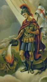 St. Florian, Roman Catholic Martyr. An officer of the Roman army,  he was twice scourged, half-flayed alive, set on fire, and finally thrown into the river Enns with a stone around his neck. His body, recovered and buried by a pious woman, was eventually removed to the Augustinian Abbey of St. Florian, near Linz. Feastday May 4