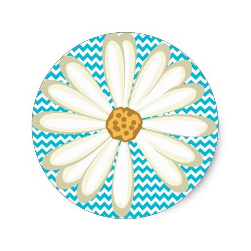 Cute Daisy Flower Scrapbook Sticker Chevron