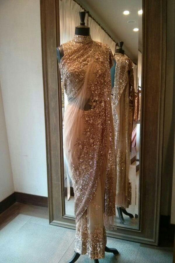 Rose gold sequin saree