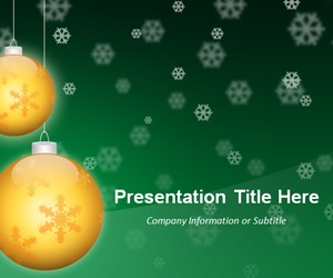 Christmas PowerPoint template (Golden Balls ), green Christmas PowerPoint background template MS #PowerPoint 2007 and 2010
